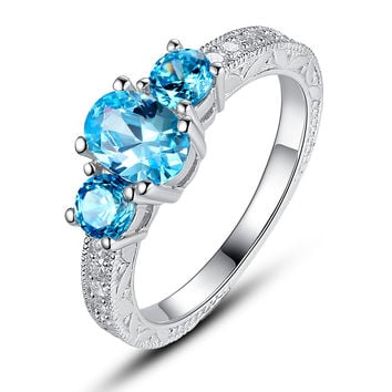 Sterling Silver 3-Stone Ocean Blue Cubic Zirconia Engagement Ring