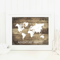 Rustic Map Print, Travel Quote Art Print, Adventure Awaits, World Map Poster, Faux Wood Print, Rustic Wedding Decor, SKU:008