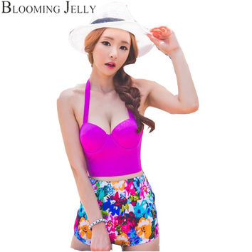 Blooming Jelly Vintage High Waist Bikini Push Up Swimsuit Printing Swimwear Women Bathing Suit Halter Swimsuits Bustier Corset