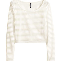 H&M - Cropped Top - White - Ladies
