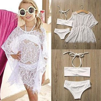 Summer Lace Bikini Set + Cover up Swimsuit Toddler Bathing Suit Girl