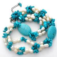 Turquoise Bead & Ringed Pearl Necklace HDNY