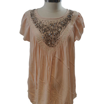 Pink Embellished Short Sleeve Blouse by A Pea In The Pod