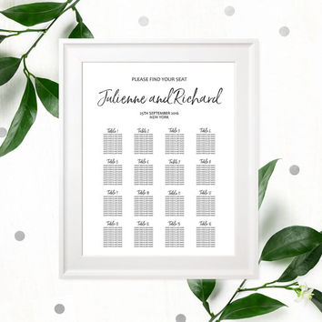 Shop wedding reception seating on wanelo hand lettered seating chart poster diy printable calligraphy cus wedding signage solutioingenieria