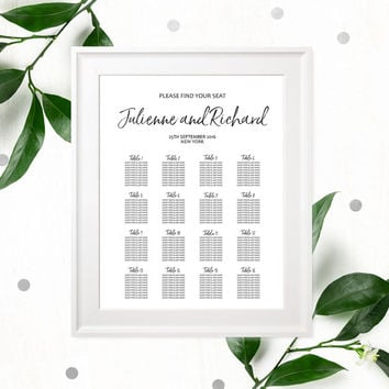 Hand Lettered Seating Chart Poster-DIY Printable Calligraphy Custom Seating Chart for Rehearsal Dinner-Wedding Reception Seating Plan