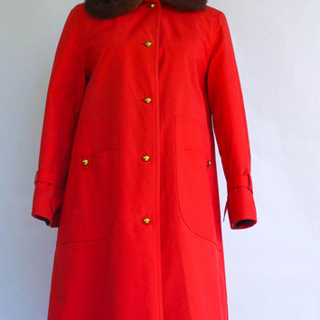 Vintage 1970's Red Poplin Bonnie Cashin For Russ Taylor Canvas coat with Fur Size 4.