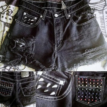 Black High Waisted Ripped and Studded Shorts