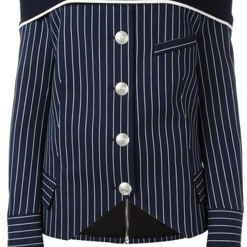 DCCKIN3 Pierre Balmain off-shoulder Striped Shirt