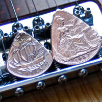 Guitar Pick Set -- 1965 & 1967 English Copper Pennies  -- Antique Plectrums