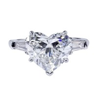 GIA Certified 3.31 Carat Heart Shape Diamond Three-Stone Engagement Ring