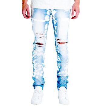 ONETOW Embellish NYC Drophead Jeans In Light Blue
