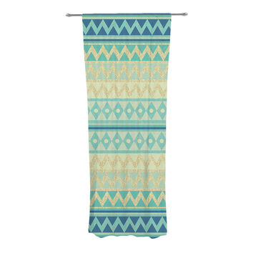 "Nika Martinez ""Glitter Chevron in Teal"" Blue Pattern Decorative Sheer Curtain"