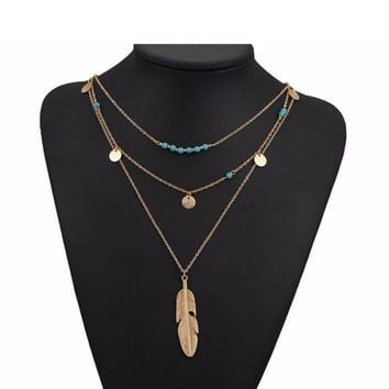 Fashion Multi Layer Leaf Chain Necklaces Jewelry for Women
