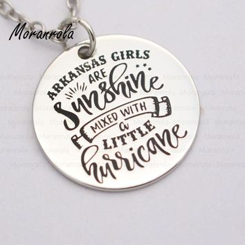 "Girls Are Sunshine Mixed With a Little Hurricane"" Copper Arkansas Necklace & Charm"