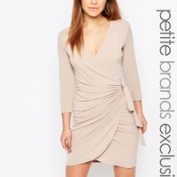 John Zack Petite Slinky Tie Side Detail Mini Dress