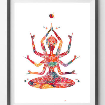 Indian mother Kali goddess Watercolor Print Kali Ma poster Spiritual art yoga print Wall Art Poster devi feminine energy symbol print [N694]