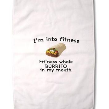 """I'm Into Fitness Burrito Funny Premium Cotton Sport Towel 16""""x25 by TooLoud"""