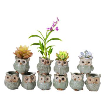 VICTMAX 1pcs Ceramic Owl Pattern  Flower Pots Succulent Plant Pot Office Home Decoration Garden Planter Pot - Random Delivery