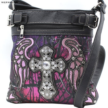 Purple Mossy Camo Wing and Cross Crossbody Purse