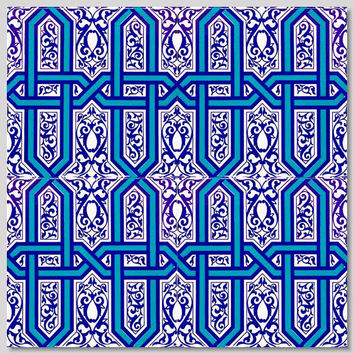 "Seljuk/Iznik Blue & White Tulip Floral 15,7""x 15,7"" (40cm x 40cm)  Turkish Ceramic Tiles Kitchen/ bathroom Turkish tile"