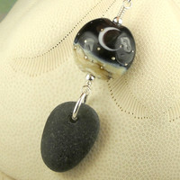 GENUINE Black Sea Glass Necklace Crescent Moon