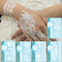 White Wedding Henna Lace Flower Waterproof Temporary Tattoos 5 Sheets Set