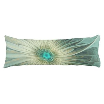 Modern Abstract Fantasy Flower Turquoise Wheat Body Pillow