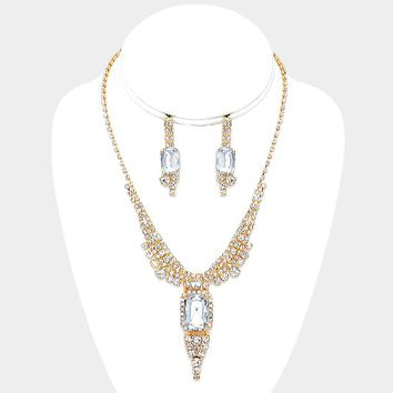 Emerald Cut Crystal Princess Y Drop Necklace Earring Set