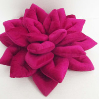"rich pink Lotus flower  velvet pillow/ cushion in the size 16""x16"""