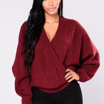 Anne Marie Sweater Top - Burgundy