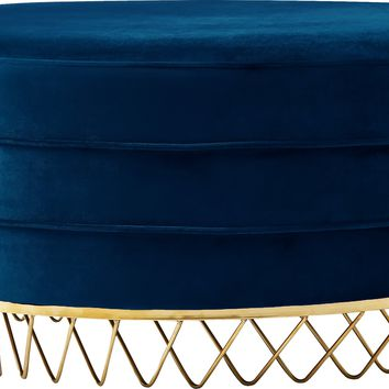Revolve Navy Velvet Ottoman/Coffee Table