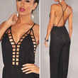 Black Backless Chiffon Jumpsuit with Cut-Outs