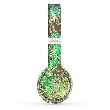 The Bright Green Floral Laced Skin Set for the Beats by Dre Solo 2 Wireless Headphones