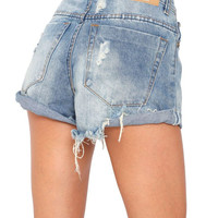 One Teaspoon || Hawks shorts in vintage blue