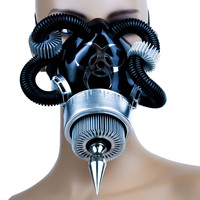 Aluminum Turbine Gas Mask Single Respirator Spike Bio Hazard
