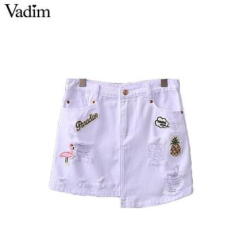 Vadim women cute bird pineapple embroidery patch denim skirt white holes faldas European style fashion mini skirts BSQ564