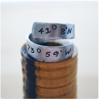 Coordinates Wrap Ring - Best Friend Long Distance - Hand Stamped Latitude & Longitude Personalized Ring - Initials Ring