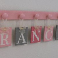 PInk and Gray Alphabet Letters, Baby Girl Nursery Name Sign Custom for FRANCESCA with 9 Pastel light Pink Wooden Pegs
