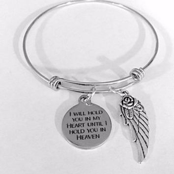 Adjustable Bangle Charm Bracelet I Will Hold You In My Heart Angel Heaven Gift