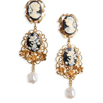 Dolce & Gabbana Cameo Faux Pearl Clip Earrings - Goldtone Filligree Earrings
