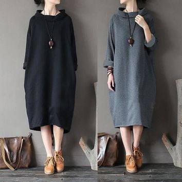 Women Winter Casual Loose Turtleneck Long Sleeve Sweatshirt Dress Kaftan