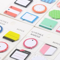 4 pcs/lot Fresh Style Schedule Marker Self-Adhesive Memo Pad Sticky Notes Post It Bookmark School Office Supply