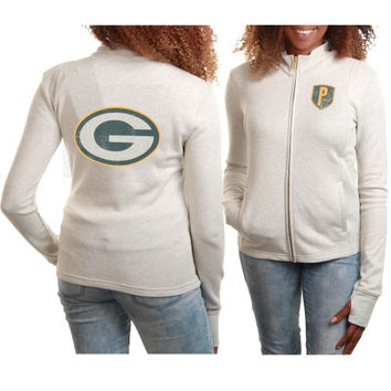 Green Bay Packers Women's French Terry Lightweight Full Zip Jacket – Gray