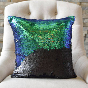 Mermaid Green-Blue & Black Sequin Mermaid Pillow