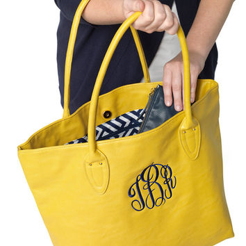 Mustard Yellow Tote Purse Bag  - Monogrammed Personalized Purse