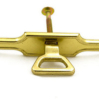 Vintage Hardware Pulls - Brass Pull & Back Plate New Old Stock NOS 1960s Mid Century