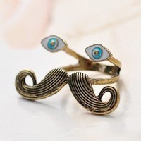 free shipping Vintage Antique Bronze Mustache&Eyes Cocktail Ring