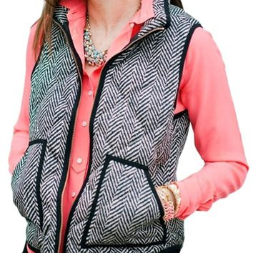 Women's Sleeveless Zip-up Plaid Quilted Vest Coats Jacket
