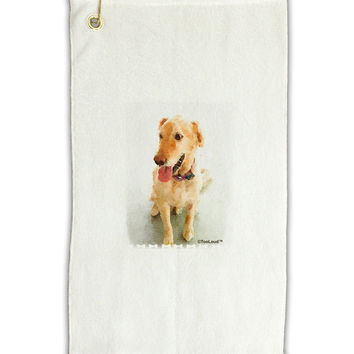"Golden Retriever Watercolor Micro Terry Gromet Golf Towel 11""x19"
