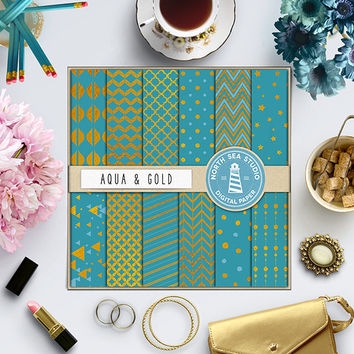 Aqua Gold Digital Paper Gold Foil Paper Gold Background Digital Foil Texture Gold Patterns Aqua Paper Chevron Polka Dot Triangle Quatrefoil